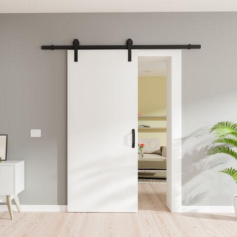 Porte coulissante intérieure Inova, 90 x 206 cm, bois blanc, rail apparent noir