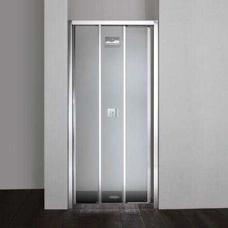 Porte coulissante pour douche en niche star de 90 cm avec 3 parois en verre transparent - Porte de douche 90 ...
