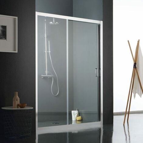 Porte coulissante pour douche en verre transparent 120 cm 02030110400515 - Porte coulissante pour douche de 130 cm ...