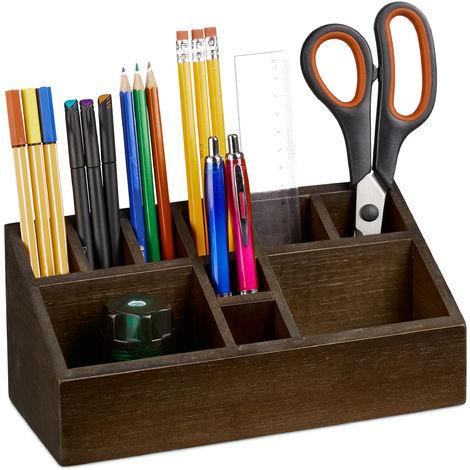 Porte-crayons, organiseur de bureau en bambou, avec 10 compartiments pour crayons et feuilles, marron foncé
