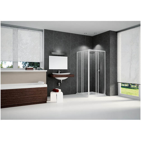 porte d 39 angle coulissante largeur 80 transparente riviera. Black Bedroom Furniture Sets. Home Design Ideas