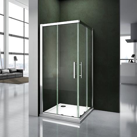 Porte de douche 70x70x187cm   cabine de douche 2 verres fixé et 2 verres mobiles