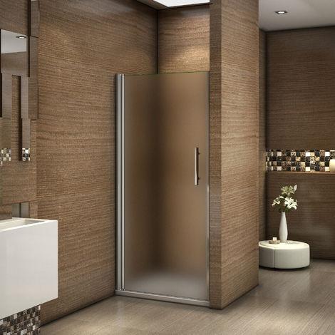 Porte de douche 185cm en 6mm verre sablé installation en niche