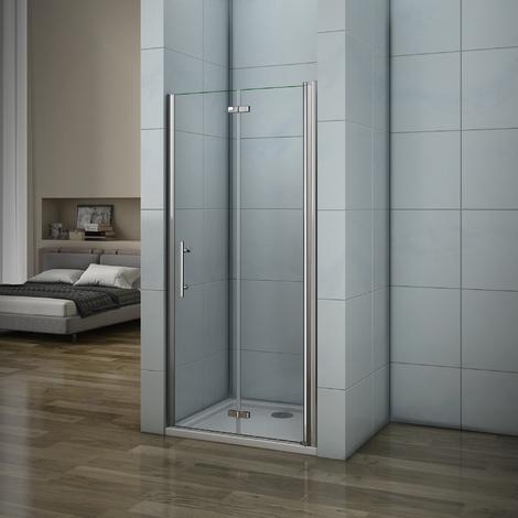 Porte de douche 197cm AICA porte de douche pivotante et pliante installation en niche
