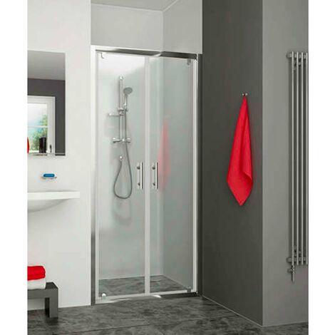 Porte de douche 2 battant EQUI argent poli verre clair ht 1900mm 775-807mm