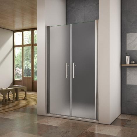 Porte de douche 2 volets 187cm en 6mm verre sablé installation en niche