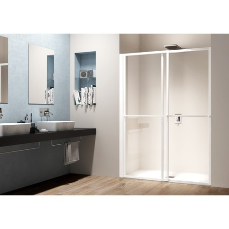 Porte de douche 2 volets coulissants et pivotants Ancomalin 2 Anconetti - Blanc brillant