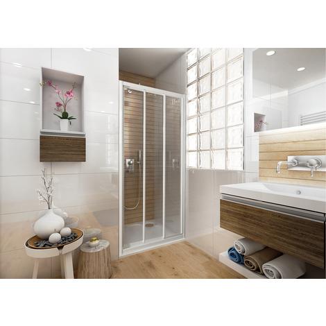 Porte de douche 3 vantaux coulissants Ancoswing - profilé blanc - ep 3mm