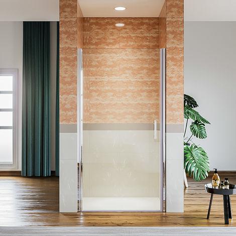 Porte de douche 70/76/80/90 cmx 185 cm porte pivotante en niche, 6 mm verre securit