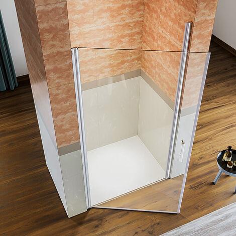 porte de douche avec barre de fixation 900mm cabine de douche /à charni/ère et pliante 76x76x195cm porte de douche pivotante 76cm