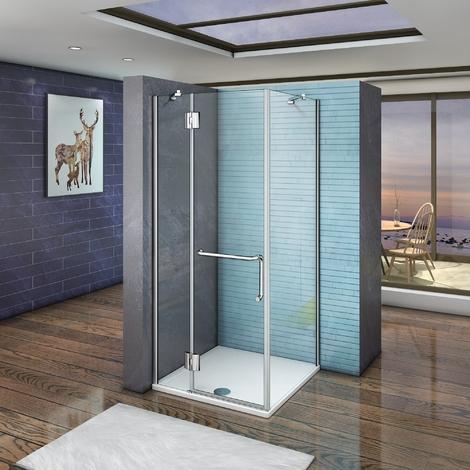 """main image of """"Porte de douche 80x80x190cm verre anticalcaire cabine de douche avec le receveur 80x80x3 cm"""""""