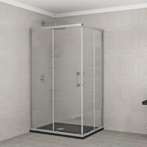 Porte de douche accès d'angle Milano - verre sérigraphié