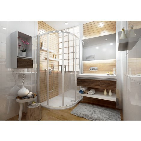 Porte de douche ANCOSWING 1/4 de rond, coulissante deux volets, en verre Sécurit transparent 4mm, 90x190cm, profil blanc