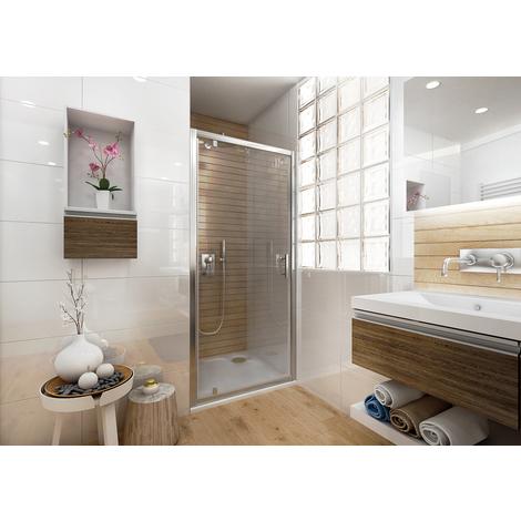 Porte de douche Ancoswing pivotante 90x190cm, verre sécurité 5mm, profil silver