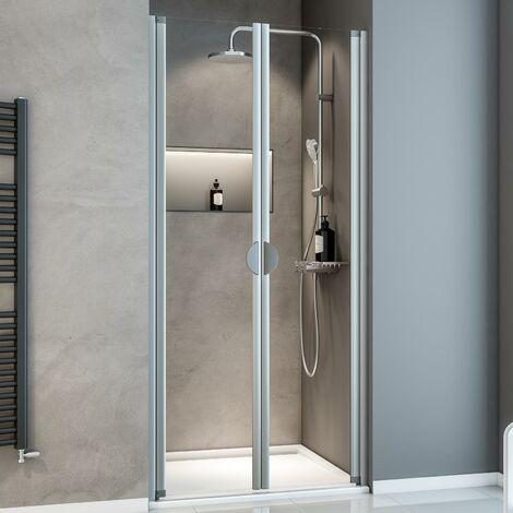Porte de douche battante en niche, verre 5 mm transparent, Sunny ExpressPlus Schulte, profil� alu-nature