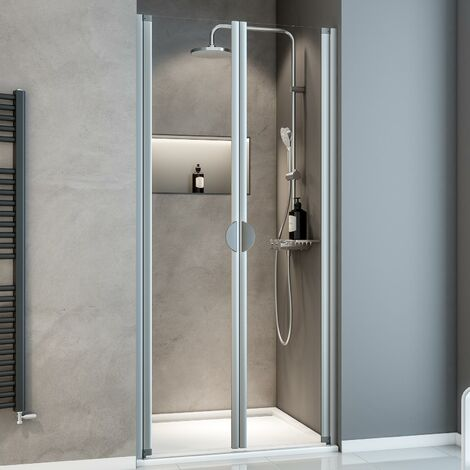 Porte de douche battante en niche, verre 5 mm transparent, Sunny ExpressPlus Schulte, profilé alu-nature