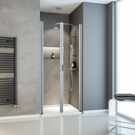 Porte de douche battante en niche, verre 5 mm transparent, Sunny II Schulte, profilé alu-nature