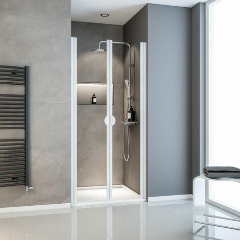 Porte de douche battante en niche, verre 5 mm transparent, Sunny II Schulte, profilé blanc