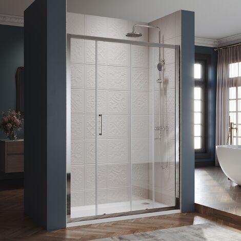 Porte de douche Coulissante 100-170 x185 cm Cadre en aluminium Largeur réglable de 20mm Verre trempé