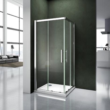 Porte de douche coulissante 100x100x187cm cabine de douche avec receveur 100x100x3 cm