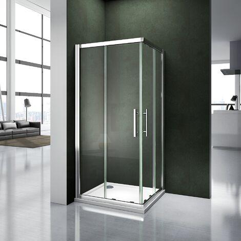 Porte de douche coulissante 100x90x187cm cabine de douche avec receveur 100x90x3 cm