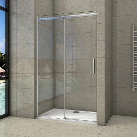 """main image of """"Porte de douche100-160cmx195cm en verre anticalcaire AICA porte de douche coulissante"""""""