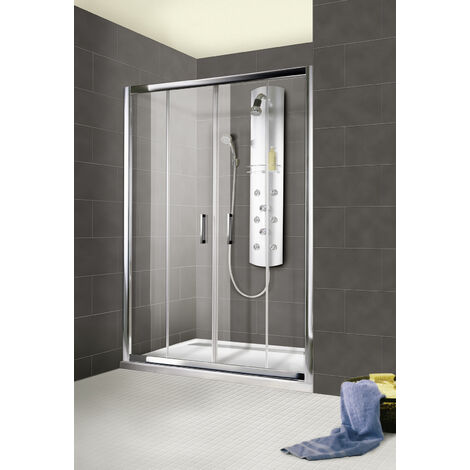 Porte de douche coulissante 120 x 185 cm, verre 6 mm, 4 éléments, profilé aspect chromé, Impériale, Schulte