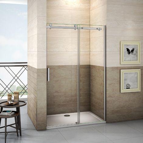 Porte de douche coulissante 195cm installation en niche verre anticalcaire