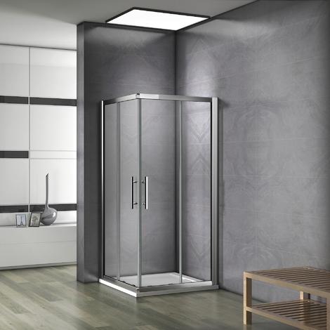 Porte de douche coulissante 80x80x185cm cabine de douche sans receveur