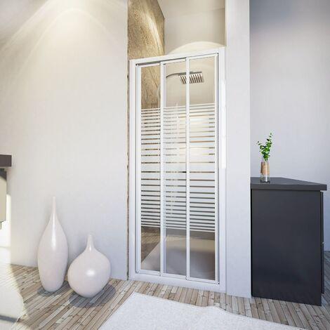 Porte de douche coulissante, décor rayures horizontales, profilés blancs, verre 3 mm, Schulte, 110 x 185 cm