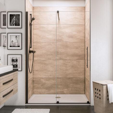 Porte de douche coulissante en niche, verre 6 mm transparent anticalcaire, profilé noir, roulettes en bas, style industriel, Schulte, dimensions aux choix