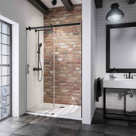 Porte de douche coulissante en niche, verre 6 mm transparent anticalcaire, style atelier industriel, profilé noir, roulettes en haut, Newstyle, Schulte, dimensions au choix