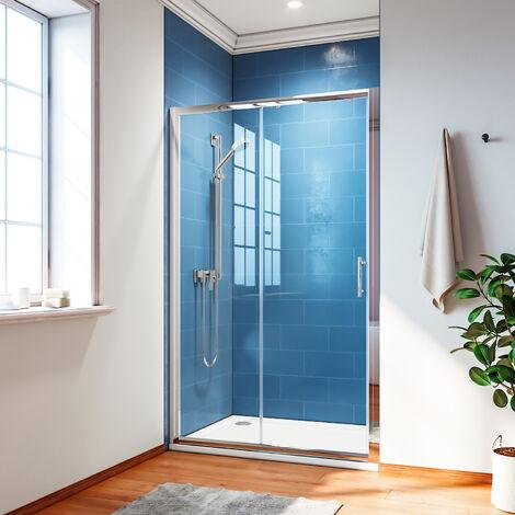 Porte de douche coulissante extensible cadre en aluminium multi dimension 100 - 170 CM Hauteur 185 CM