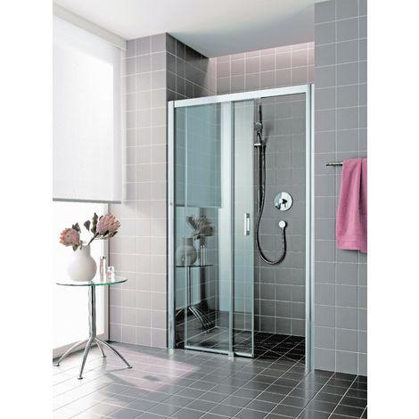 Porte de douche coulissante largeur 1200mm H2m verre clair traité 6mm 2 éléments (fixe à D) sans seuil ATEA RHOTALUX 1403009745