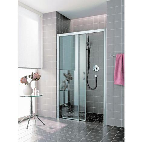 Porte de douche coulissante largeur 1200mm H2m verre clair traité 6mm 2 éléments (fixe à G) sans seuil ATEA RHOTALUX 1403009773