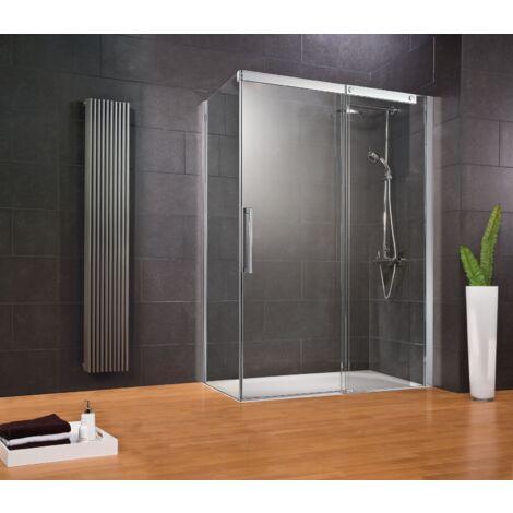 Porte de douche coulissante + paroi de retour fixe, verre 8 mm anticalcaire, profil� aspect chrom�, Manhattan, Schulte, 2 dimensions au choix