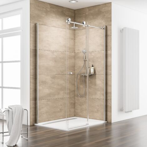 Porte de douche coulissante + paroi de retour fixe, verre 8 mm, MasterClass, Schulte
