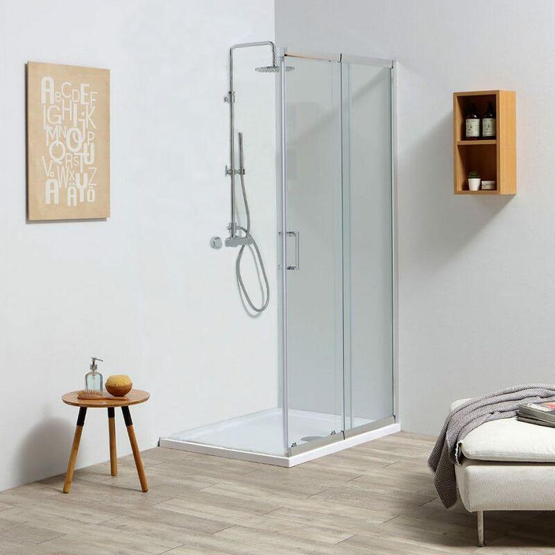 Porte de douche coulissante r glable 100 110 cm en verre Porte de douche 110 cm