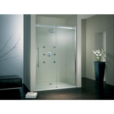 Porte de douche coulissante, verre 6 mm, profilé aspect chromé, Style 2.0, Schulte