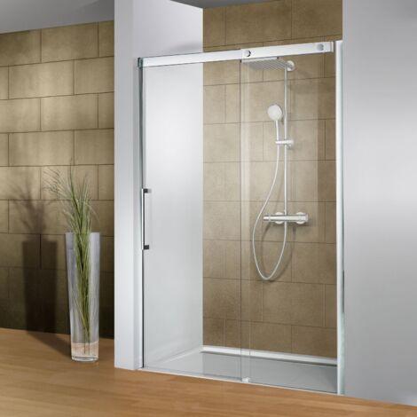 Porte de douche coulissante, verre 8 mm anticalcaire, profilé aspect chromé, Manhattan, Schulte, 3 dimensions au choix