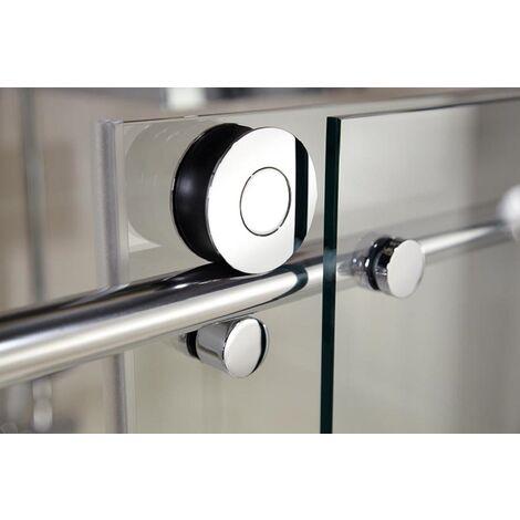 Porte de douche coulissante, verre 8 mm anticalcaire, profilé aspect chromé, MasterClass, Schulte, 3 dimensions au choix