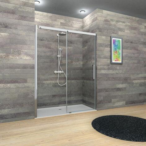 Porte de douche coulissante, verre 8 mm, profilés aspect chromé, MasterClass, Schulte, dimensions au choix