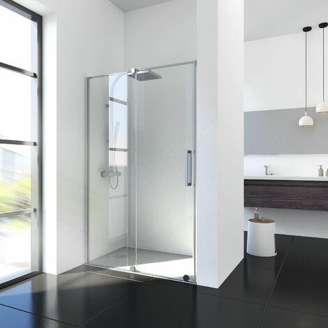 Porte de douche coulissante, verre 8 mm, système coulissant en bas, paroi de douche sans profilé haut, Maxxi, Schulte, 120 x 200 cm
