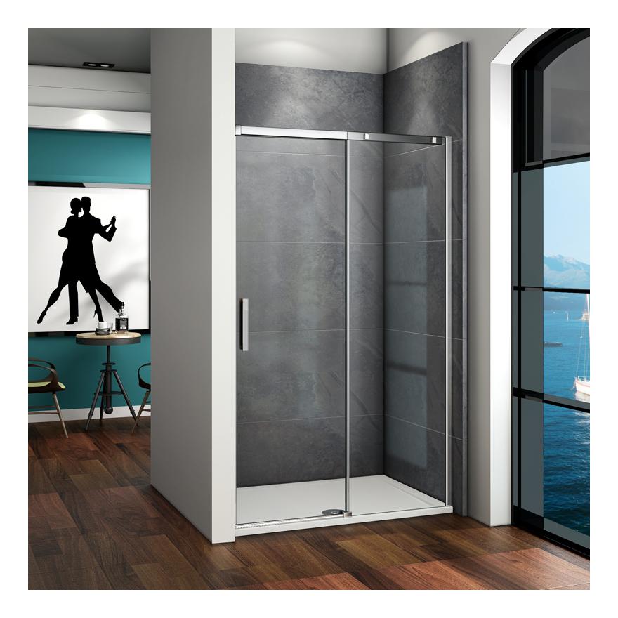 porte de douche coulissante 140x195cm verre anticalcaire