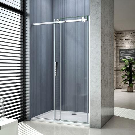 AICA porte de douche coulissante 100x200cm porte de douche coulissante noir en 8mm verre anticalcaire