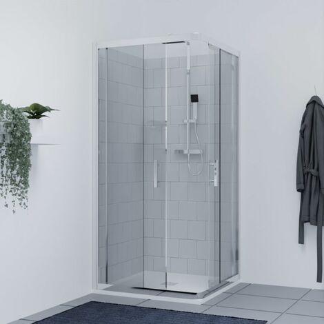 Porte de douche d'angle avec 2 coulissants NERINA - 90x90 cm