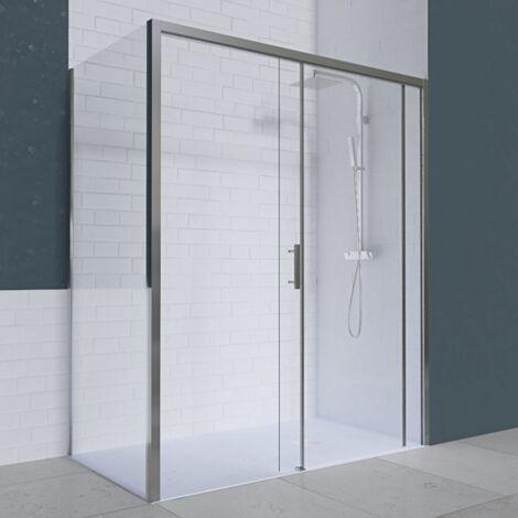 Porte de douche d'angle avec paroi coulissante NERINA PMR - 160x80 cm