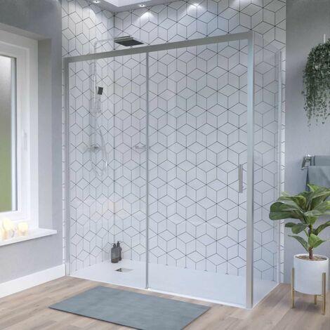 Porte de douche d'angle avec paroi coulissante NERINA PMR - 170x90 cm
