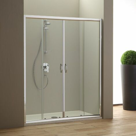 porte de douche en niche 160 cm giada en verre transparent 02030110400550. Black Bedroom Furniture Sets. Home Design Ideas