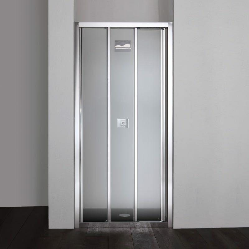 Porte de douche en niche star de 110 cm trois panneaux en Porte de douche 110 cm